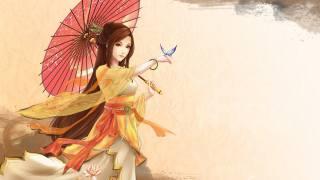 drawing, girl, Japanese, umbrella