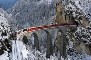 mountains, snow, the tunnel, the bridge, train
