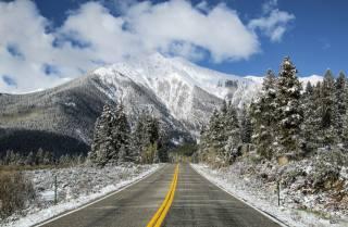 mountains, snow, road