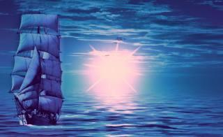 sea, the sky, light, sailboat, birds