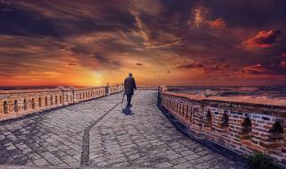 people, the bridge, sunset