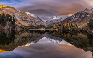mountains, отражаются, in, lake, осенним, day