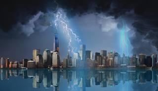 the storm, lightning, the city, sea