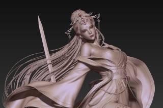 CGI, 3d, sculpture, women, asian, weapon, sword, long hair, dress