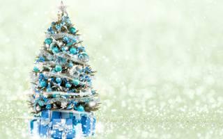 beautiful, dressed, herringbone, with, подарками, on, красивом, white, блестящем, background