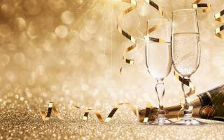 champagne, glasses, bottle, sparks, Shine, ribbons