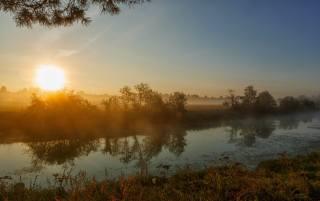 summer, the river, Sunrise, photographer, Николай Шевченко