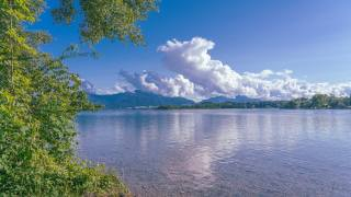 the sky, clouds, river, trees