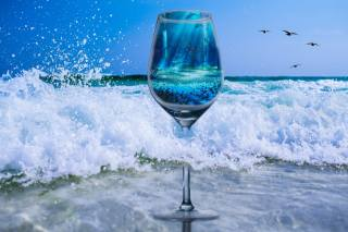 Glass, wine, sea, summer