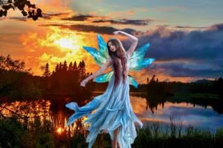 girl, фейри, the lake