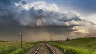 the sky, clouds, railway