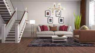 Wallpaper, beautiful, interior, pillows, sofa, the stairs, parquet, chandelier, carpet, picture, plant, lamp