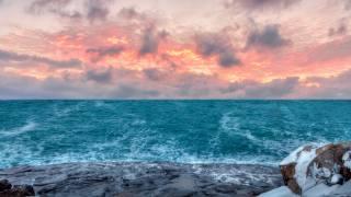 North, sea, shore, the sky, sunset
