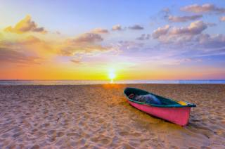 the beach, sand, boat, network, the ocean, the sky, evening