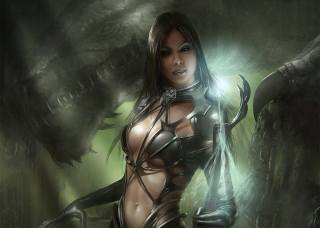 girl, dragon, fantasy