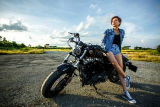 motorcycle, Asian, jacket, shorts