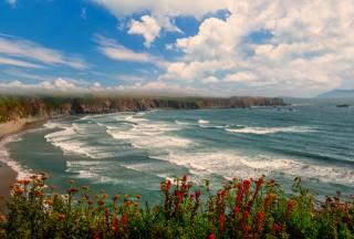 landscape, surf, shore, the sky