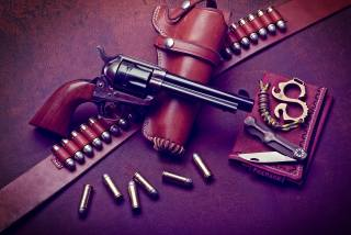 Colt, revolver, holster, cartridges