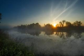 summer, the river, fog, Sunrise, photographer, Николай Шевченко