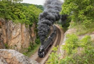 залізниця, поїзд, вагони, паровоз, дим