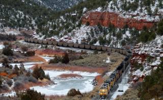 гори, залізниця, поїзд, склад