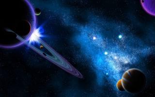 планети, солнечной, системи, в, космосі, з, млечным, путем
