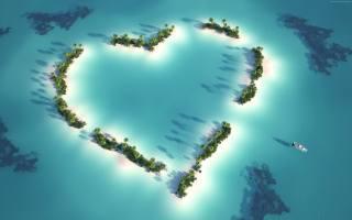 острів, в, виде, серця, в, индийском, океані, Мальдіви