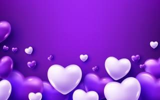 білі, сердечка, на, фиолетовом, тлі