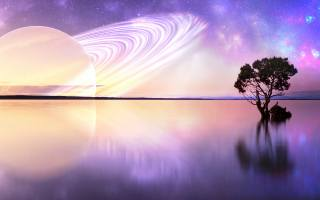 velká, planeta, Saturn, v, obloze, над, озером