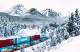 зима, гори, ліс, сніг, поїзд