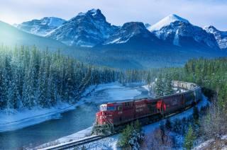гори, ліс, річка, сніг, залізниця, поїзд