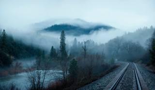 гори, ліс, туман, річка, залізниця