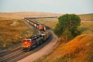 поля, залізниця, поїзда