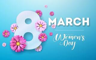 міжнародний, жіночий, день, квіти, фон, напис, березень
