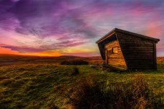 hut, Prairie, sunset
