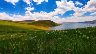 небо, озеро, холмы, цветы