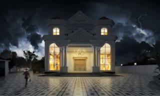 Villa, lights, evening