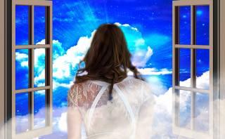 девушка, окно, небо, облака