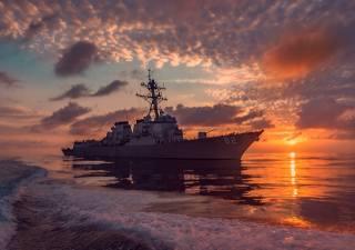 эскадренный, миноносец, evening, sunset, USA