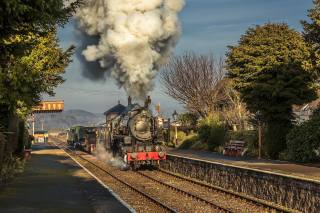 поїзд, паровоз, дим, станція