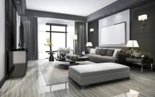 Чорно, білий, інтер'єр, в, гостиной, з, большим, телевизором