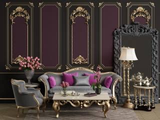 розкіш, інтер'єр, чайный, сервиз, вази, квіти, троянди, орхідеї, меблі, кімната, килим, лампа, візерунки