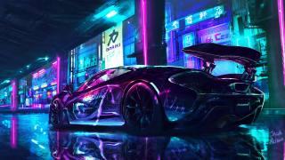 cyberpunk, Макларен, Supercars, Неон, мистецтво, місто, машина