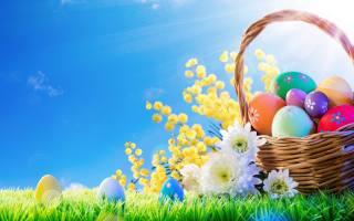 трава, в, сонце, квіти, кошик, весна, Великдень, eggs, прикраси