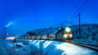 зима, поїзд, вогні, сергей крылов
