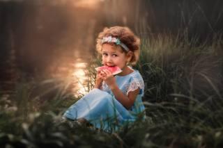 літо, трава, природа, кавун, сукню, долька, дівчинка, кучері, дитина