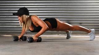 фітнес, гантелі, кепка, руки, планка, вправа, спорт