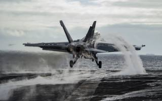 Boeing FA-18E Super Hornet, american carrier-based bomber, United States Navy, taking off from aircraft carrier deck, F-18