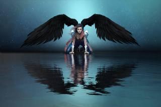 ангел, вода, крила, відображення, фентезі