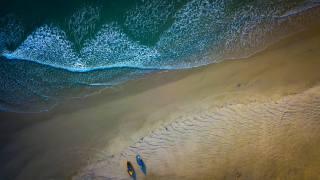 човни, пляж, море, вид с воздуха